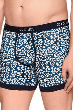 2(X)IST Legion-Blue Cheetah-Print Graphic Cotton Boxer Brief