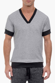 2(X)IST Light Heather Grey Short Sleeve V-Neck Sweatshirt