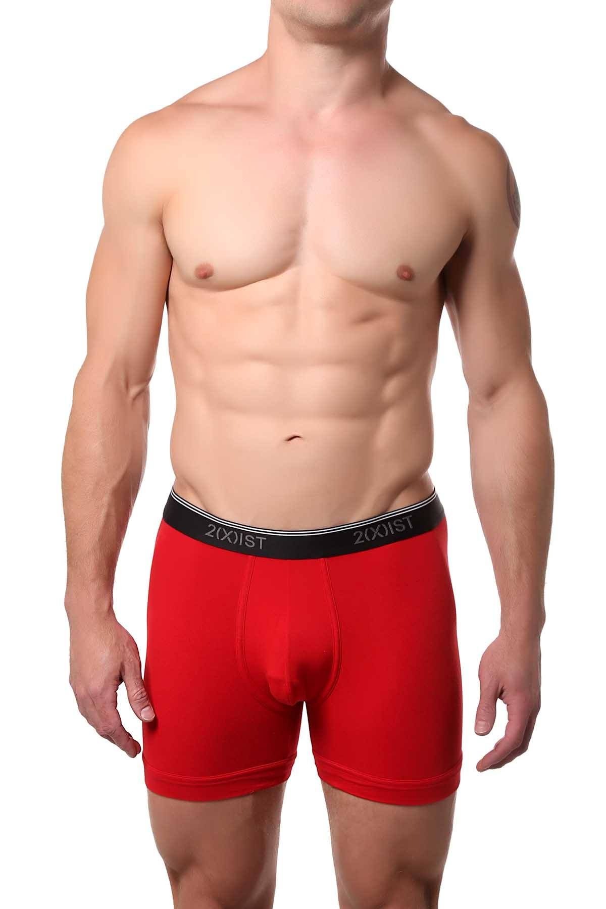 2(X)IST Salsa-Red Essential Cotton-Stretch Boxer Brief