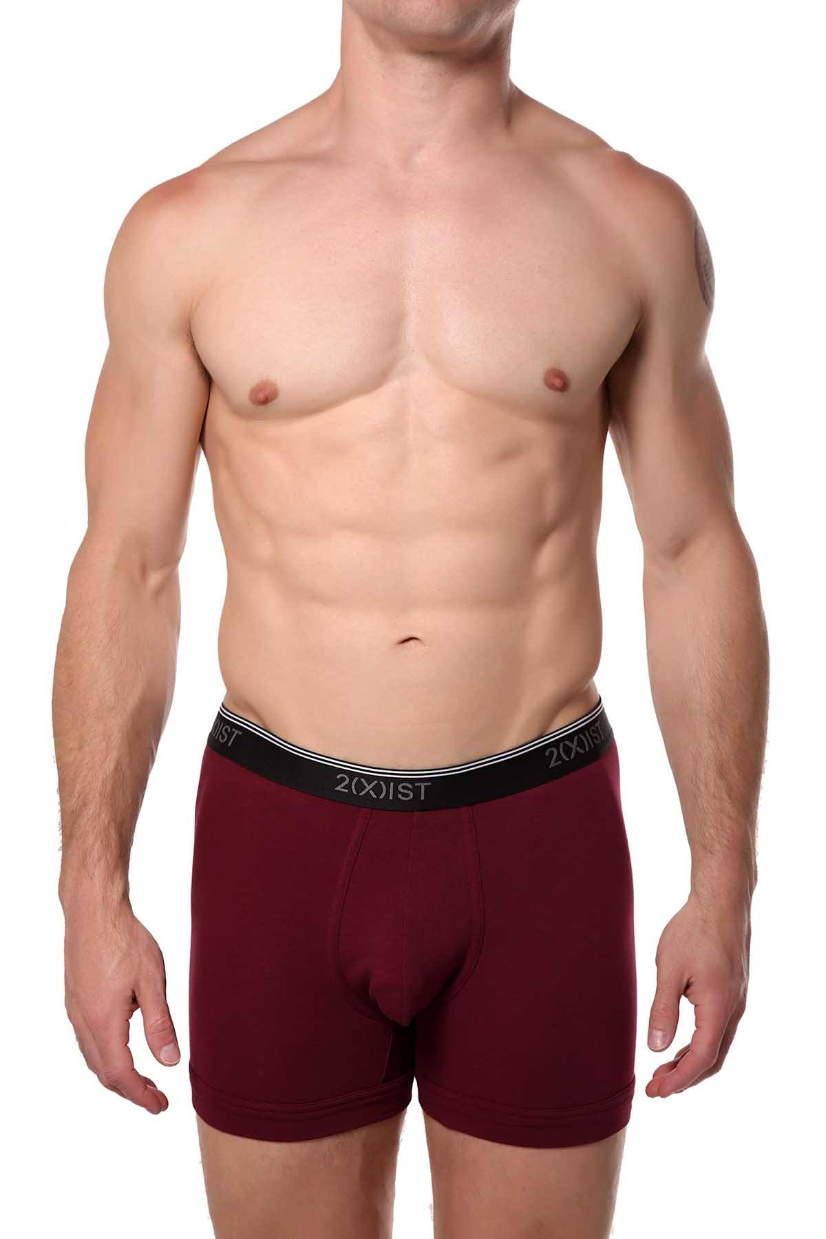 2(X)IST Tawny-Port Essential Cotton-Stretch Boxer Brief