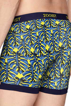 2(X)IST Vibrant-Yellow Palm-Print Graphic Cotton Boxer Brief
