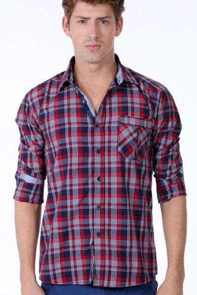 ONE90ONE Blue & Red Plaid Button-up