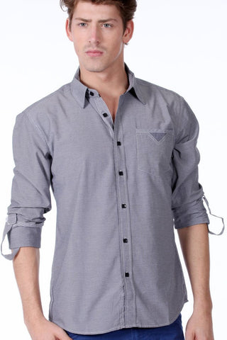 ONE90ONE Grey Micro Printed Button-Up