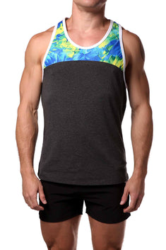 Freedom Reigns Charcoal/Floral Retro Tank Top