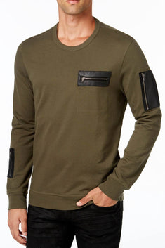 INC International Concepts Green-Tea Faux-Leather-Trim Crewneck Sweater