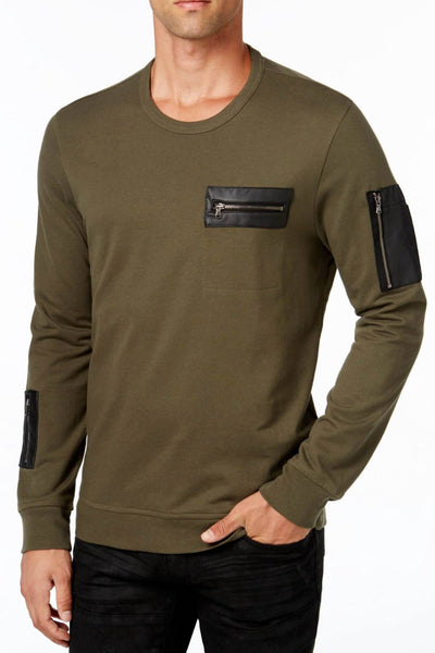 INC International Concepts Green-Tea Faux-Leather-Trim Crewneck Sweater - CheapUndies.com
