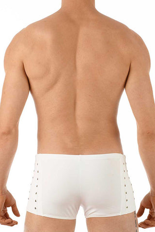 Gregg Homme White Sunstud Square Swim Trunk