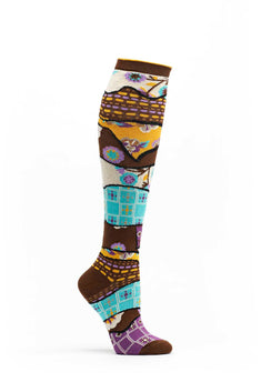 Ozone Brown Quilt Pile Knee High Sock
