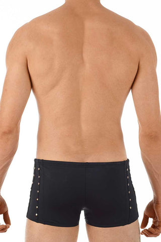 Gregg Homme Black Sunstud Square Swim Trunk