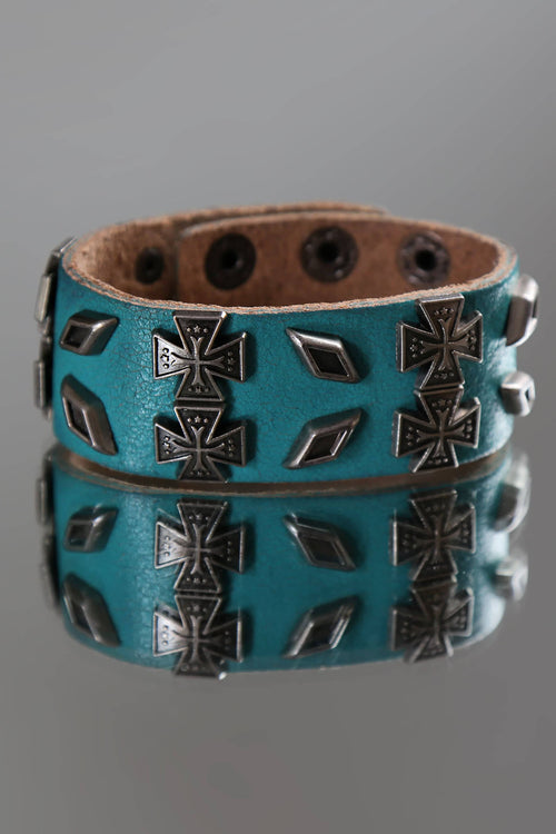 Rave Blue Iron Cross Bracelet - CheapUndies.com