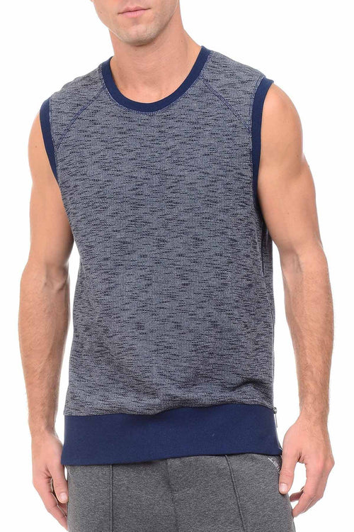 2(X)IST Blue Marled Sleeveless Side-Zip Muscle Sweatshirt - CheapUndies.com