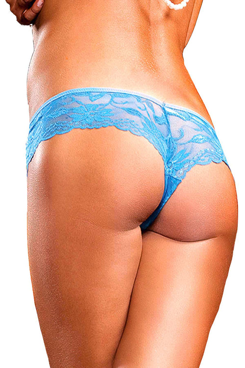 Baci Blue Low-Rise Lace Bootyshort - CheapUndies.com