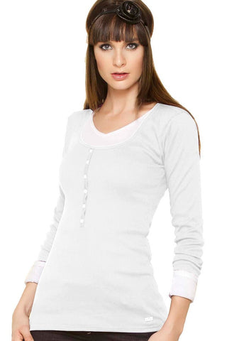 Fiory White Ribbed Long Sleeve Henley