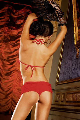 Baci Red Ruffle Bootyshort Set