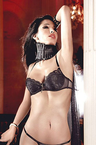 Baci Black Lace And Mesh Bra With Underwire