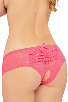 Seven 'Til Midnight Neon Pink Open Crotch Lace Boyshort