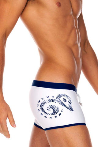 Tribe White & Navy Pacific Swim Trunk