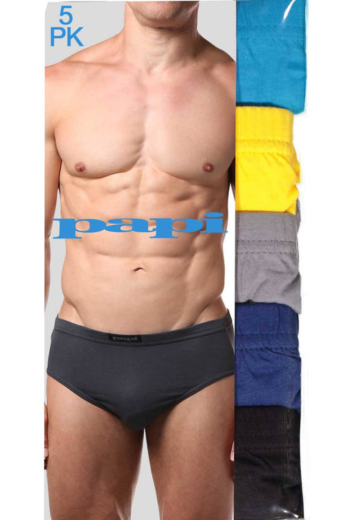 Papi Yellow/Turquoise/Navy/Grey/Black Low-Rise Brief 5-Pack - CheapUndies.com