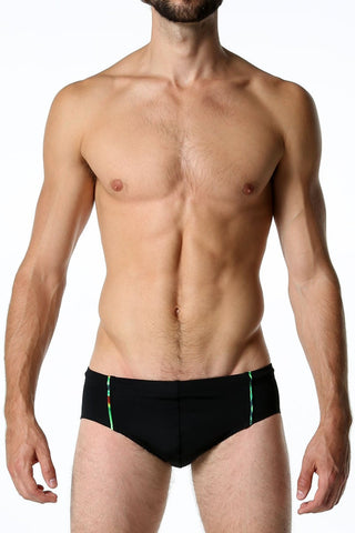 Tribe Black Swim Brief With Rainbow Piping