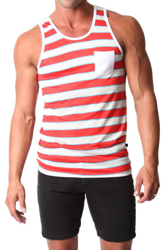Timoteo Red & White Oceanside Tank