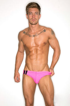 CheapUndies Neon Pink Racing Swim Brief