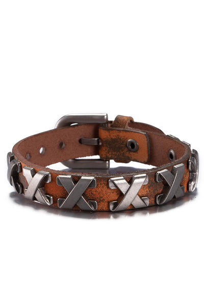 "Orange Genuine Leather ""X""  Bracelet - CheapUndies.com"
