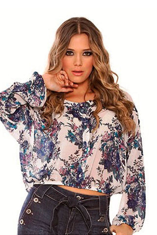 Fiory Blue Floral Button-Down Top