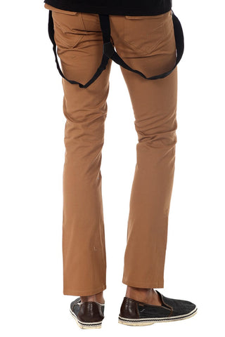 Something Strong Brown Suspender Skinny Pant