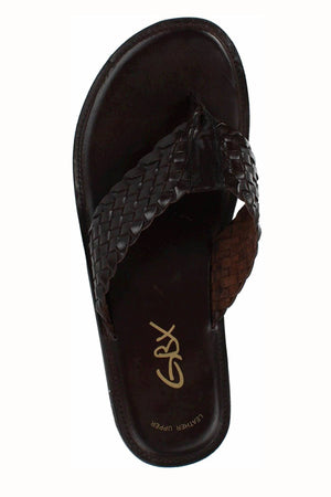 GBX Dark-Brown Leather Vamp Thong Sandal