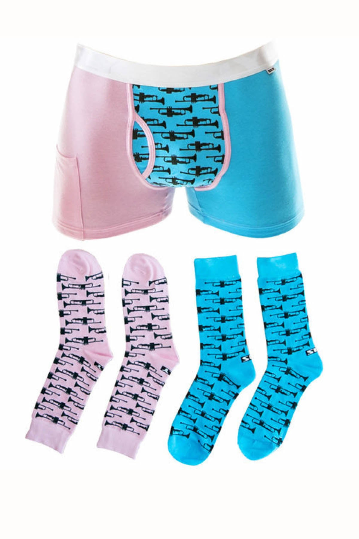 Sly Blue & Pink Multi Blow My Trumpet Boxer Brief & Socks Pack