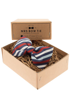 Mrs. Bow Tie Cowes In Navy, Blue & Red Standard Bow Tie