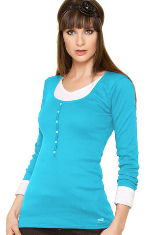 Fiory Blue Ribbed Long Sleeve Henley