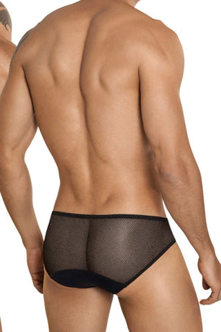 Clever Black Squared Mesh Brief