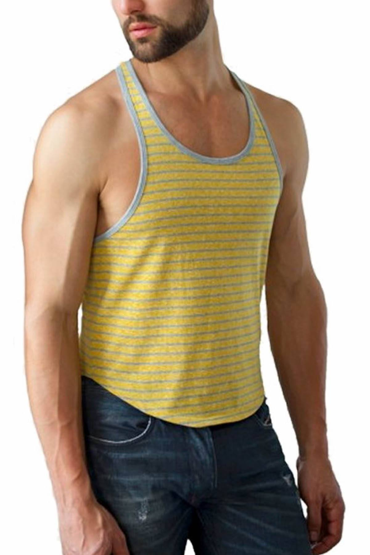 Jack Adams Mustard & Grey Stripe T-Back Tank
