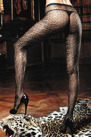 Baci Black Scatter Diamond Jacquard Pantyhose
