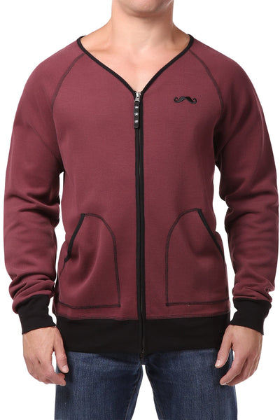 Spenglish Dark Red Zip Cardigan Tee - CheapUndies.com
