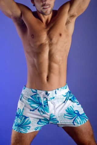 Hades Blue Floral Swim Trunk