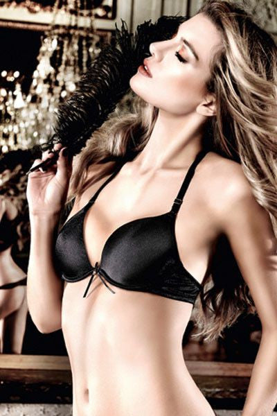 Baci Black With Black Bow Microfiber Four Way Convertible Bra With Underwire