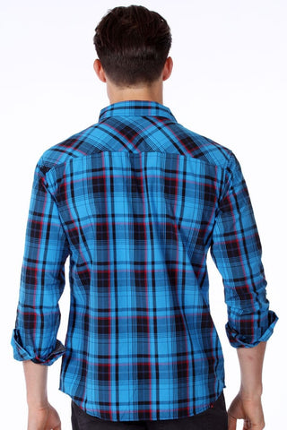 ONE90ONE Blue & Black Plaid Button-Up w/ Double Pockets