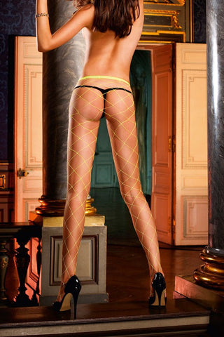 Baci Yellow Diamond Net Pantyhose