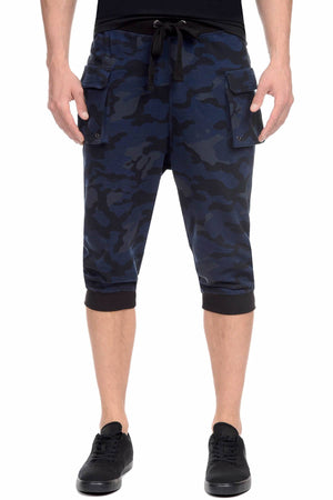 2(X)IST Blue-Camo French Terry Cropped Cargo Pant