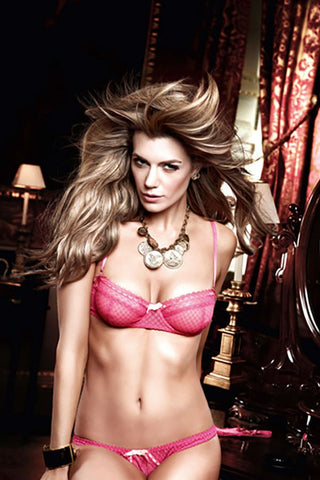 Baci Pink Mesh and Lace Demi Bra with Underwire