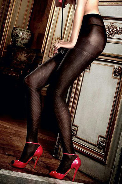Baci Black Faux Thigh Pantyhose