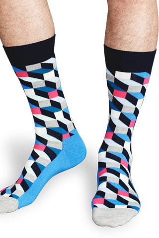 Happy Socks Navy Blue Cube Socks