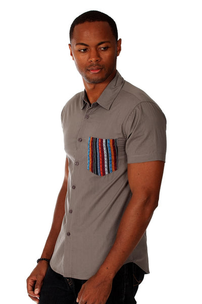 Do Nothing Grey Tribal Tim Button Up