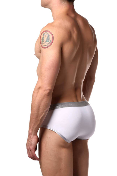 Cocksox White/Silver-Shimmer Contour-Pouch Sports Brief