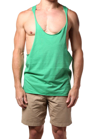 Y.M.L.A. Green Raw Edge String Tank
