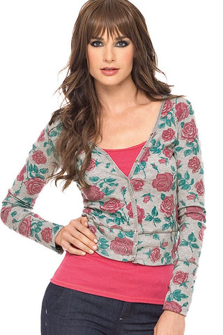 Fiory Grey Ribbed Floral Cardigan