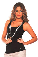 Fiory Black Knit Tank Top with Necklace