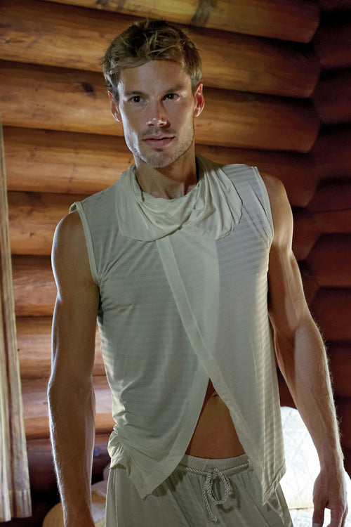 P.O.V. Ivory Toga Sleeveless Shirt - CheapUndies.com